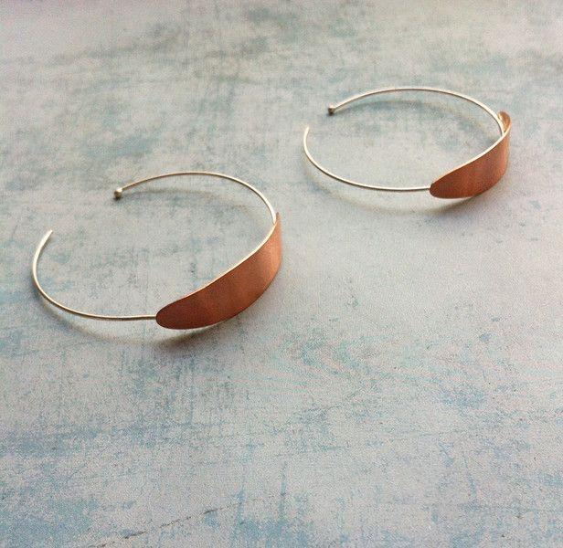 Copper and Silver Hoop earrings. Delicate Jewellery - Minimalist. Handmade Jewellery.