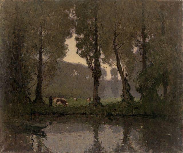 Pierre-Eugène Montézin (1874-1946), VACHES AU BORD DE L'ETANG, Huile sur toile, 73x92 cm