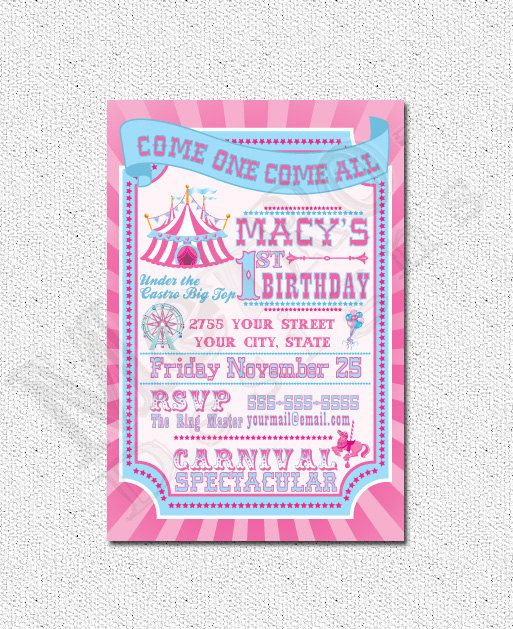 166 best Letu0027s Party - Circus, Carnival, Fair images on Pinterest - circus party invitation