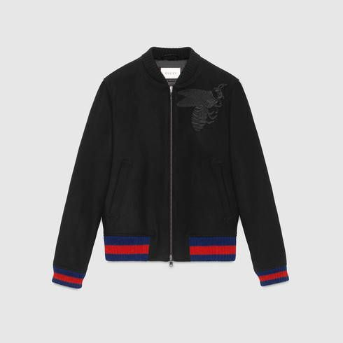 GUCCI Wool Bomber Jacket With Bee Appliqué. #gucci #cloth #men's bombers & leather jackets