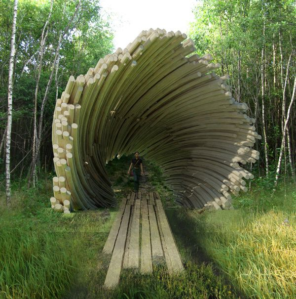 Nikola`s funnel - concept visualization. Nikola-Lenivets, 4 hours South of Moscow in the Kaluga region, Russia; a magnet for Russian contemporary artists.