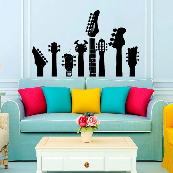 Muro decalcomanie chitarra colli Decal musica muro vinile Decal - Home Interior Decor - casalinghi arte vinile autoadesivo camera murales L76