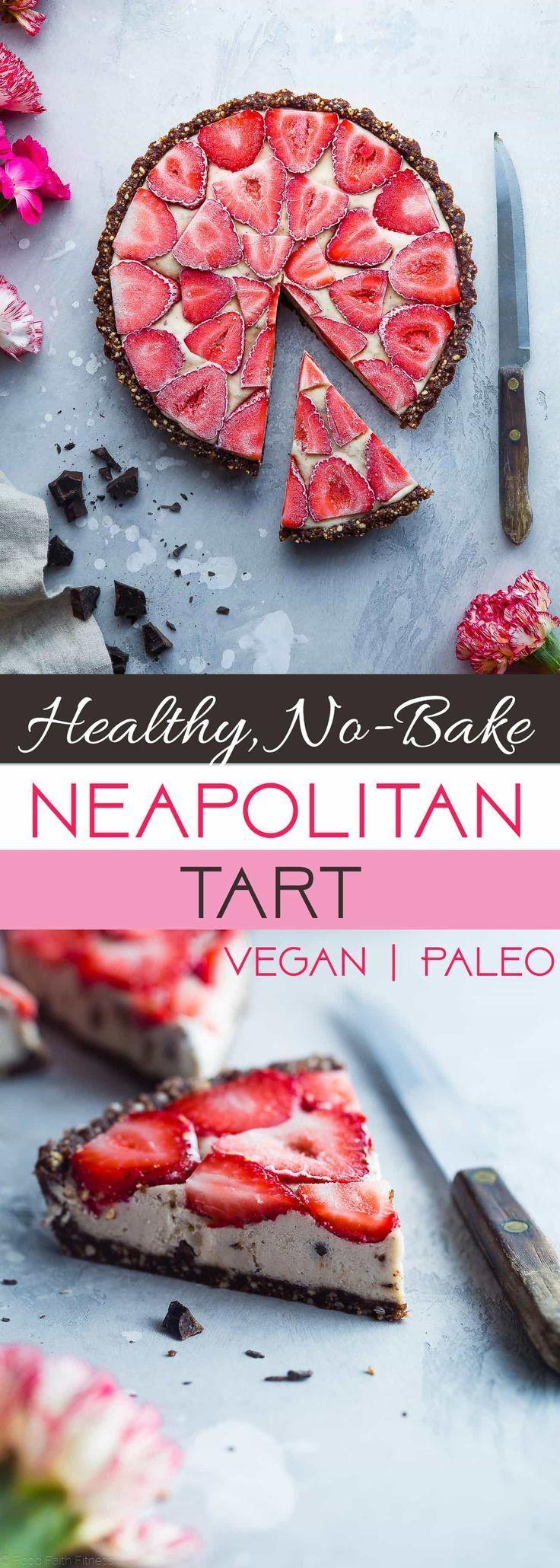 No-Bake Neapolitan Tart - This paleo friendly, no bake tart is an easy summer dessert that tastes like healthy ice cream! Gluten, grain, dairy free and vegan friendly!