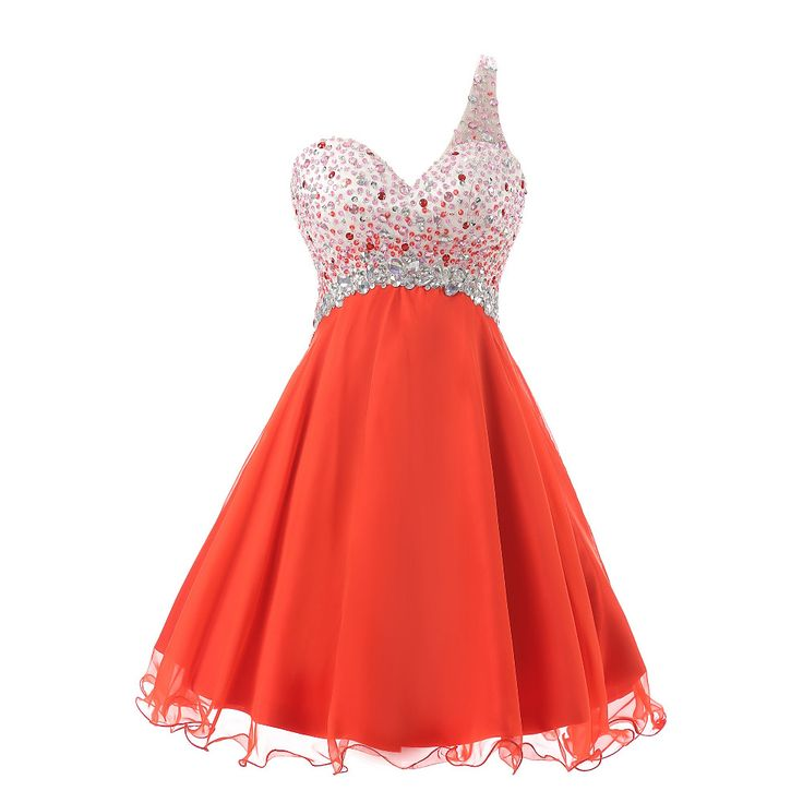 In Stock Short Cheap Homecoming Dresses With Beading Crystal Semi Formal Dresses Red A Line Chiffon Cheap Prom Party Gowns