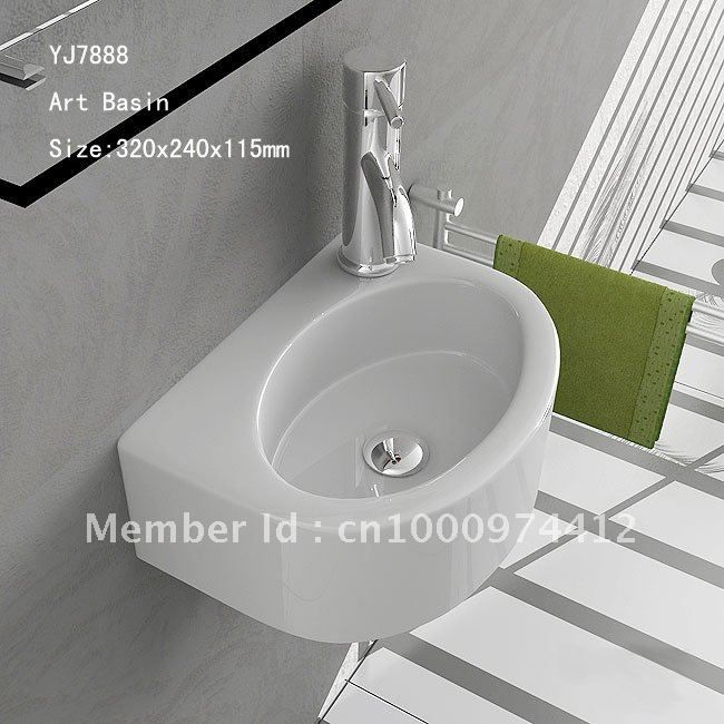 7888 Bathroom Ceramic Mini And Save Spaces Wall Hung Wash Hand Sink Basin Lavatory Lavabo With