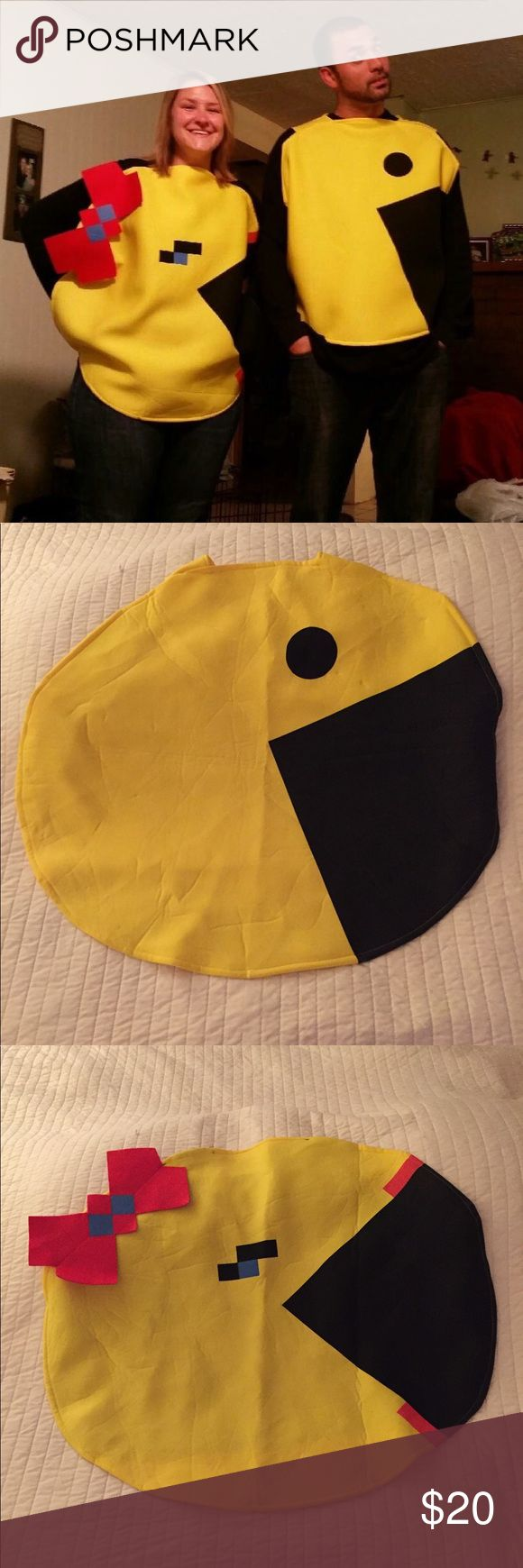 Mr. & Mrs. PAC-man costumes! Both for $20 Mr. and Mrs. PAC-man Halloween costume! Very cute, yet simple pullover costume! Wear whatever underneath, I suggest black because it makes the costume stand out better! Velcro closure in the neckline on the back! Incogneato Other