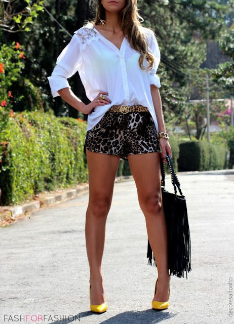 leopard shorts and white button down