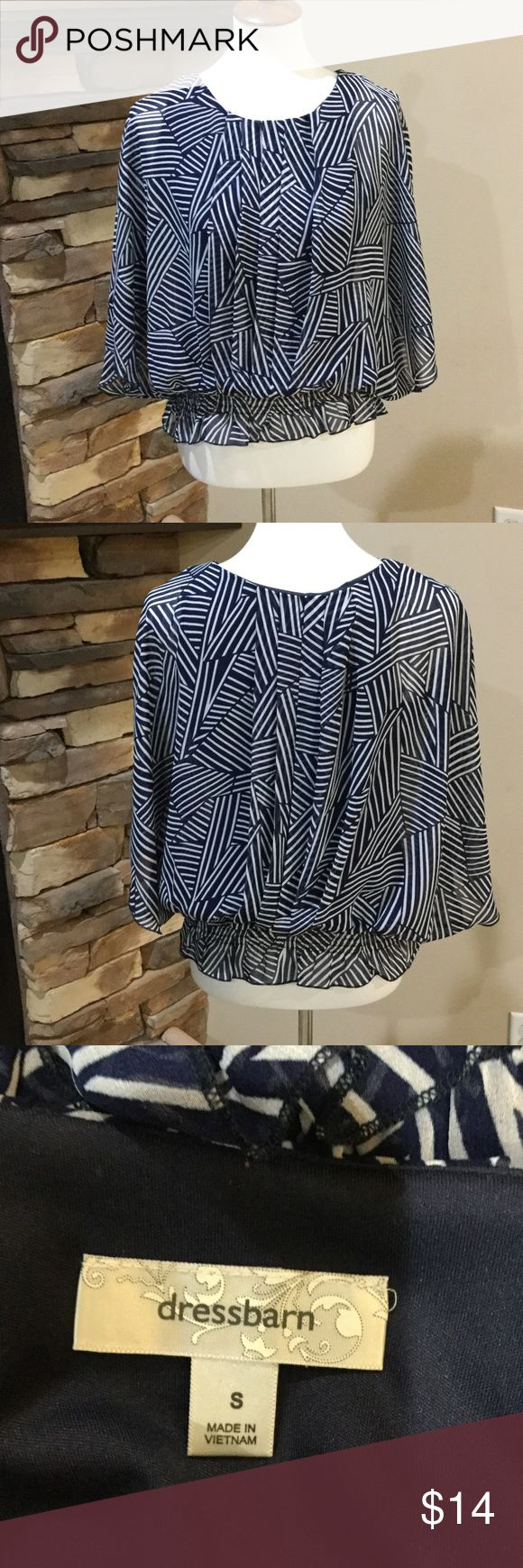 Dress Barn Blouse Navy blue and white short sleeve pullover.  Lightweight elastic waistband. Dress Barn Tops Blouses