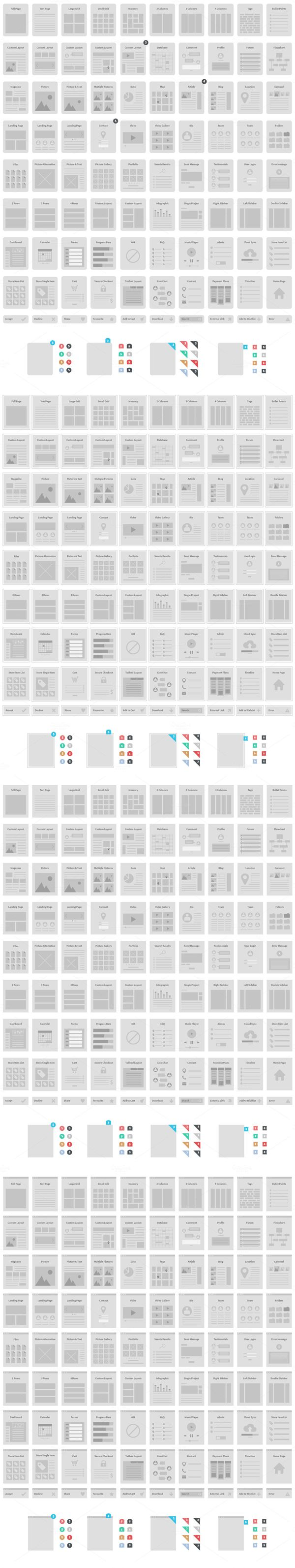 The set includes 90 wireframe screens.
