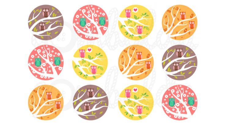 Mintás barkácsfilc - baglyok faágon - Húsvéti - tavaszi minták - Gombolda Webáruház