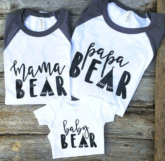 Mama Bear Graphic Tees Family Bear Shirts Mama by ThreeArrowsCo