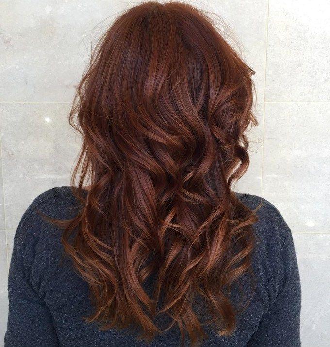 Reddish Brown Wavy Hairstyle