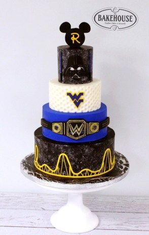 Grooms Cake, Disney Mickey Ears, Star Wars Galaxy, Golf, West Virginia University WVU, WWE and roller coaster cake, Creations By The Bakehouse