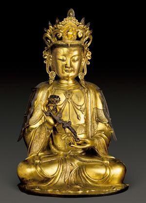 大势至菩萨 创作年代 明代 尺寸 高80cm 估价 15,000,000 - 18,000,000 RMB 作品描述 中原 黄铜鎏金…