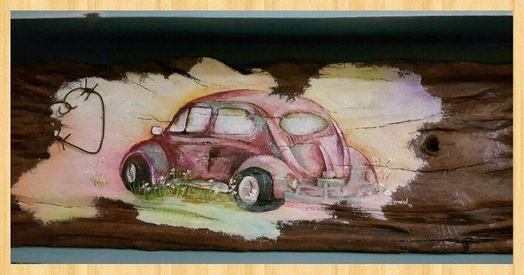 VW Beetle on Sleeper plank, Acrylic