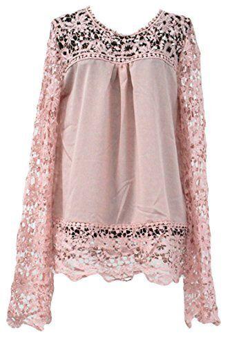 Pink Wind Womens Long Sleeve Lace Chiffon Blouse T Shirt XS-5XL, http://www.amazon.com/dp/B0196B3LWC/ref=cm_sw_r_pi_awdm_QfxRwb0C3JY25
