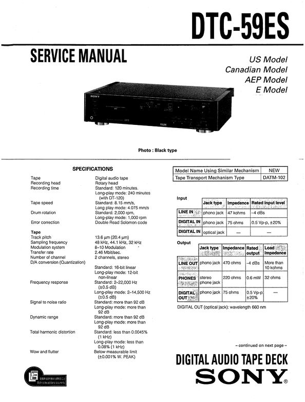 Sony DTC-59ES DAT , Original Service Manual PDF format suitable for Windows XP, Vista, 7 DOWNLOAD