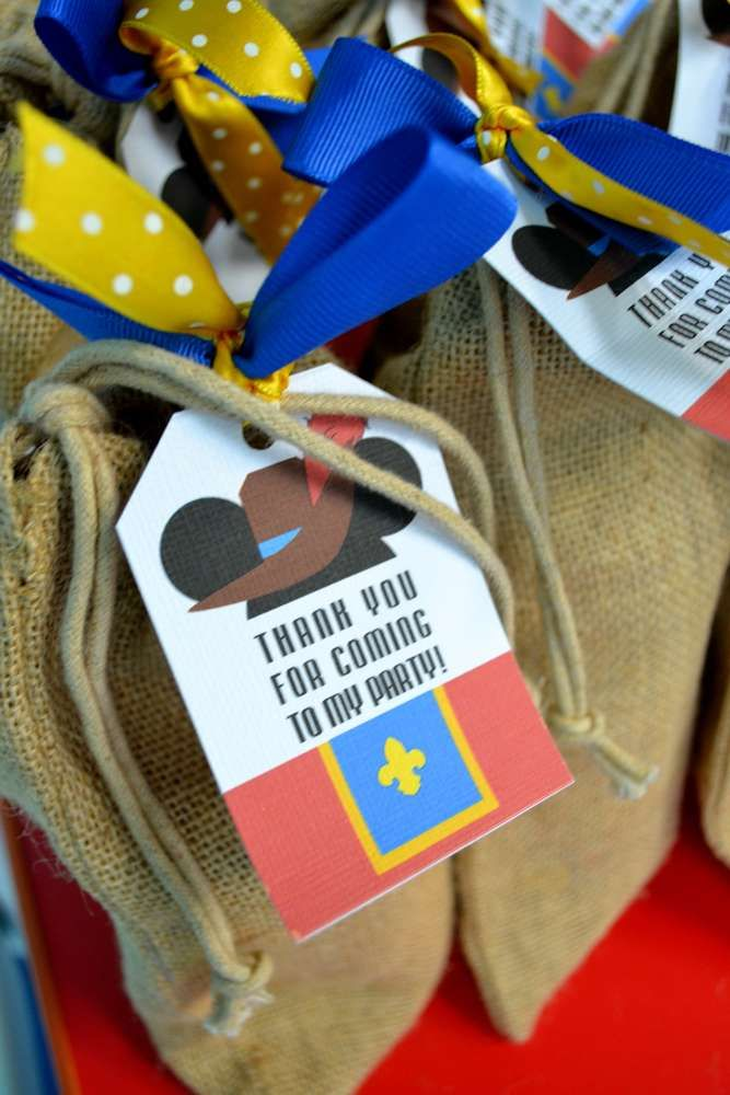 Burlap bag favors at a Mickey Mouse birthday party! See more party planning ideas at CatchMyParty.com!