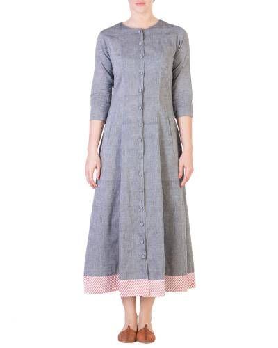 Grey Mangalgiri Pannelled A Line Tunic I Shop at :http://www.thesecretlabel.com/ans-by-astha-n-sidharth