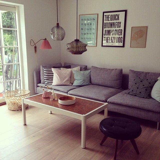 Letterpressed posters in beautiful livingroom. www.dybsort.dk
