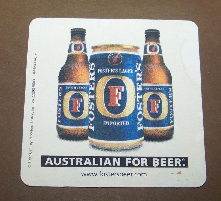 "Fosters Beer Coaster Australian for Beer Square 4"" LIMO"