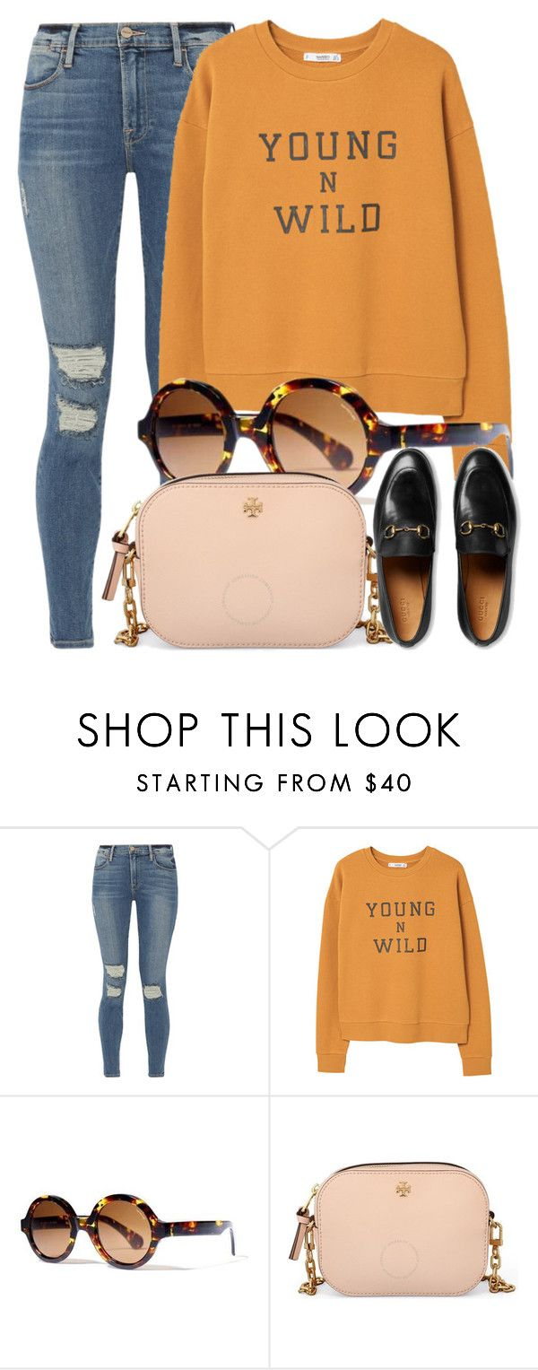 """""""Outfit Pick"""" by smartbuyglasses-uk ❤ liked on Polyvore featuring Frame, MANGO, Bob Sdrunk, Tory Burch and Gucci"""