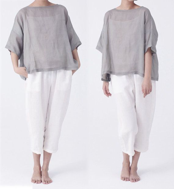 083Women's Washed Ramie Smock Top. Excluding the inner by EDOA, $63.00