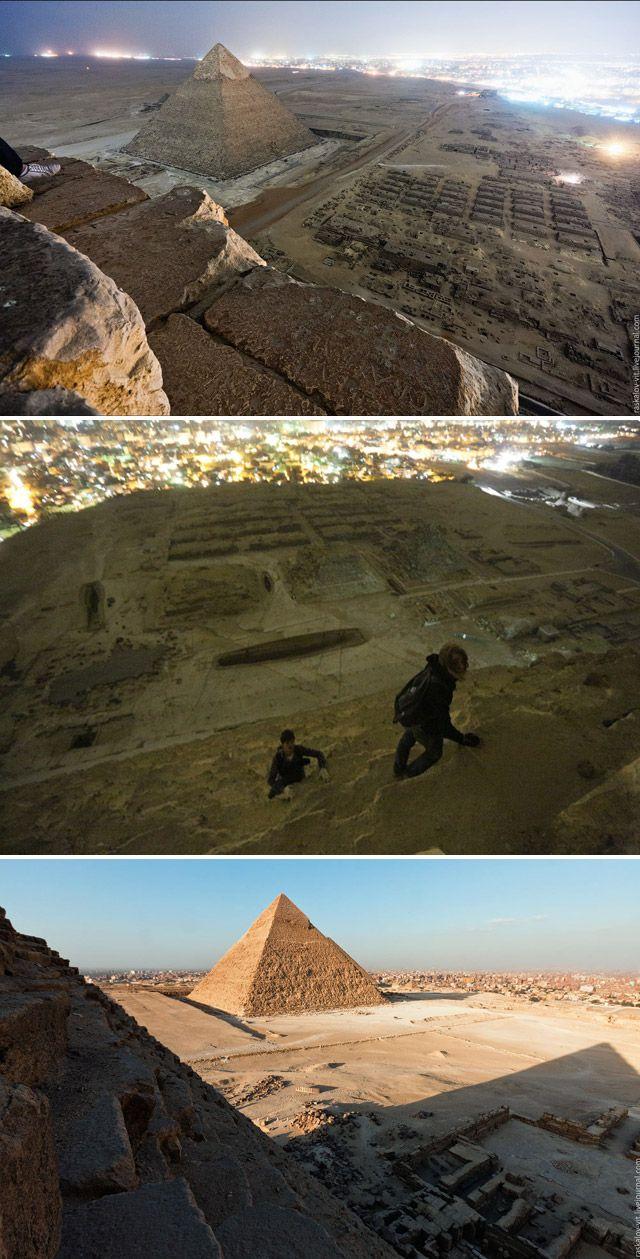Fotógrafos escalam pirâmides do Egito escondidos e registram imagens incríveis
