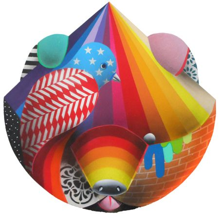 Okuda  San Miguel Animal Mask 1 - 2014 Synthetic enamel on wood 50 cm diameter  Enquiries: info@19karen.com.au