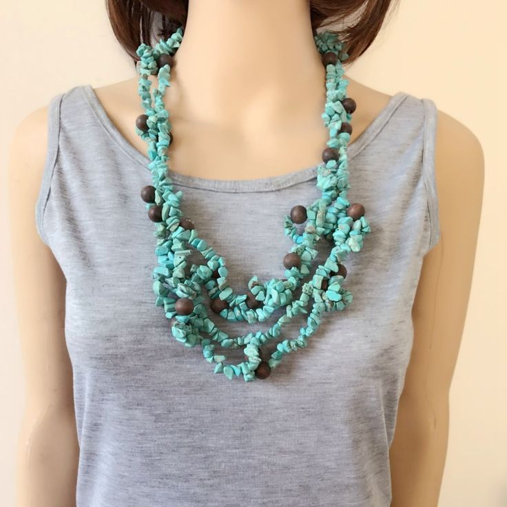 Free Shipping New Statement Chunky Turquoise Stone Wood Beads Necklace