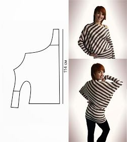 Interesting idea for pattern cutting a Jersey long-sleeve top / T-Shirt. the stripes really show of the seam-lines well :-)!