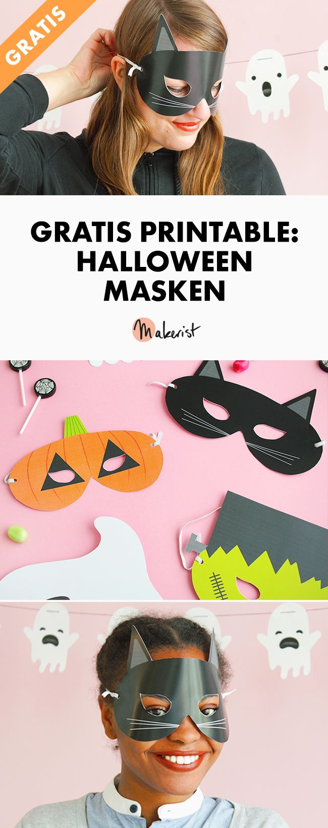 Makerist free printable halloween mask pin