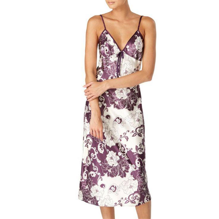Gaspe Satin Oriental Print Nightdress - Purple - 10/12 - 20/22
