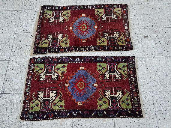 Set of 2 Geometric Small floor rugs Bathroom Kitchen Bedside