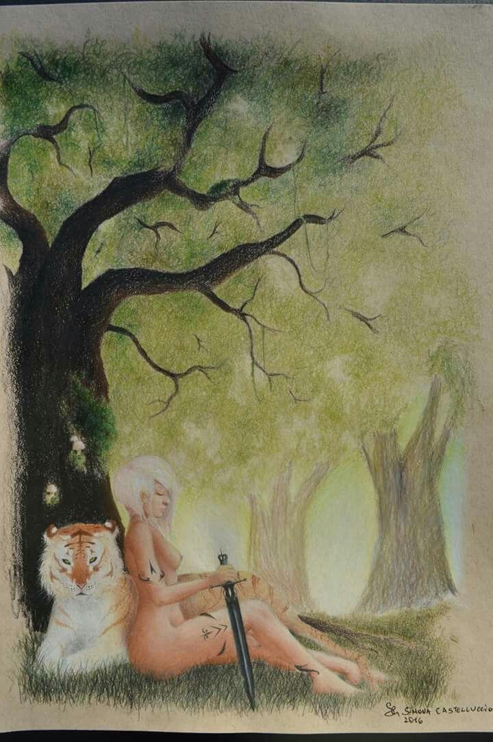 'The golden tiger ' #traditionalart #art #draw #drawing #illustrationoftheday #illustration #polychromos #pensil #color #tree #nature #golden #tiger #sword #girl #girlbody