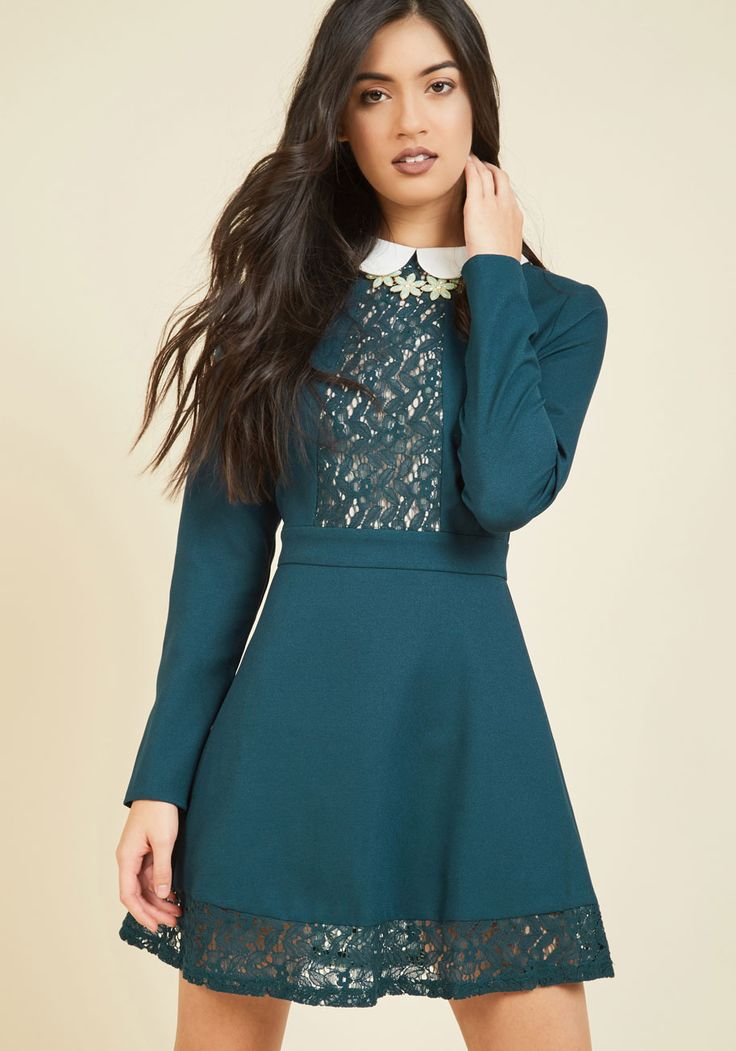 Life of the Library A-Line Dress. After-hours at the stacks just got a whole lot more stylish now that you've entered in this long-sleeved dress! #green #modcloth