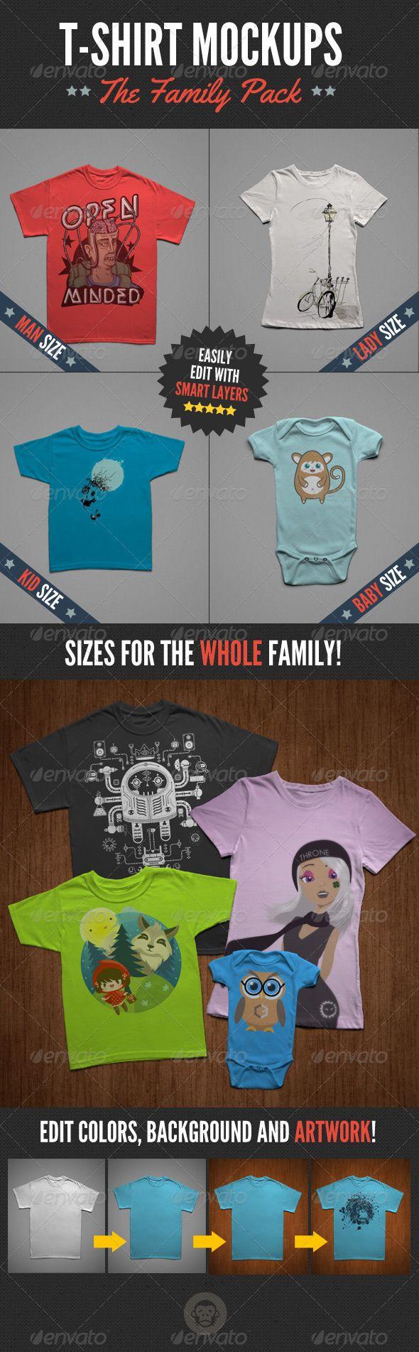 Design your own t-shirt international shipping - T Shirt Mock Ups Family Pack