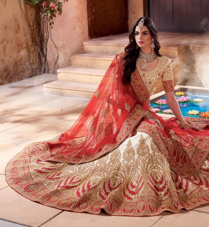 Punjabi lehengas for bridal wear buy online UK, Cream lehenga for bride