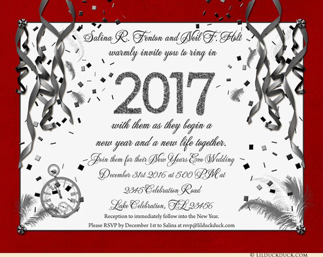 New Years Eve Wedding Invitation - Red & Silver-Gray