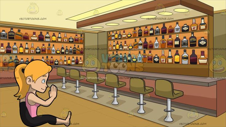 A Woman Going Into The Foot Behind The Head Yoga Pose At Inside A Bar Stocked With Bottles Of Alcohol:   A woman with ponytailed blond hair wearing a pink sleeveless tank top and black cropped leggings sitting on the floor with her left leg stretched forward as right leg is lifted and tucked behind her head that is resting on top of her crossed hands. Set in interior of an establishment that caters to liquor drinking customers with a bar and six khaki colored bar stools with stainless chrome…