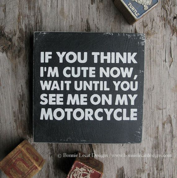 """Motorcycle Sign, """"If you think I'm cute now..."""", Nursery Art, Motorcycle Art, Biker Baby Sign, Motorcycle Nursery Decor, Motorcycle Baby Art"""