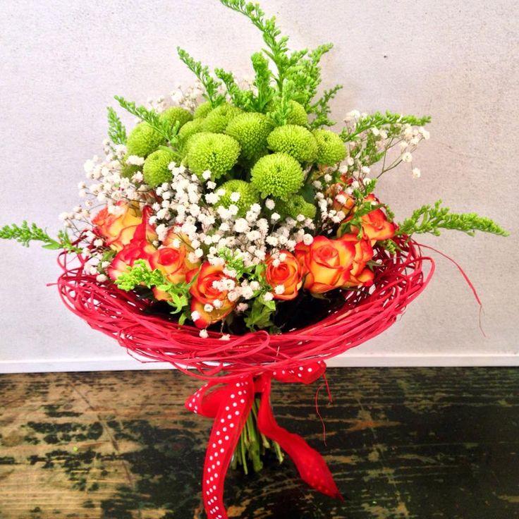 Green chrysanthemum, white gypsophilla and orange roses bouquet by Atelier Floristic Aleksandra