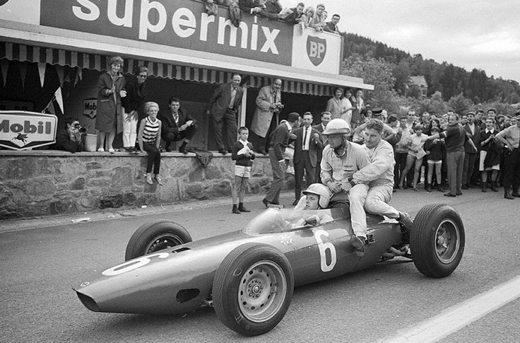Giancarlo Baghetti ferrying Phil Hill and Bob Anderson, Belgian GP Spa 1964. BRM P57 (unattributed)...