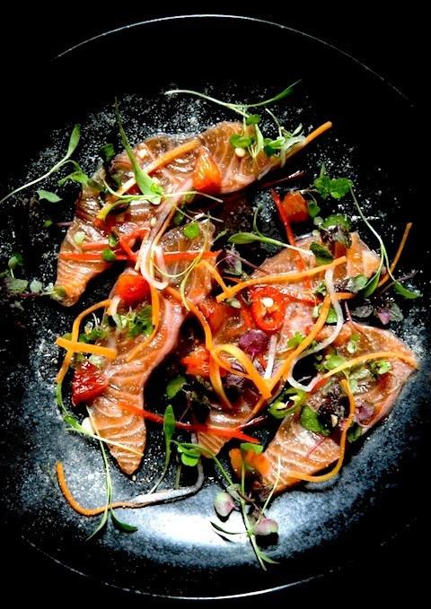 Dandelion - Sashimi of salmon, shiso cress and blood orange.