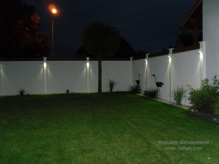 Sichtschutz mit Beleuchtung bei Nacht