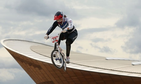 Britain's Shanaze Reade trains on the BMX track in Olympic Park on 7 August 2012.