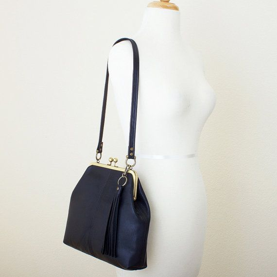 Black Leather Kiss Lock Frame Shoulder Bag with by JillyDesigns, $168.00