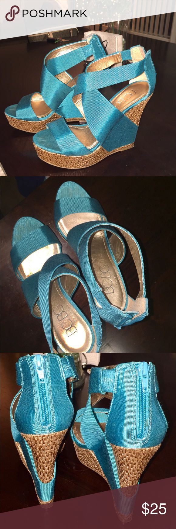BCBG teal sandals Great summer shoes, I wore only once. Very comfortable and cute! BCBG Shoes Wedges