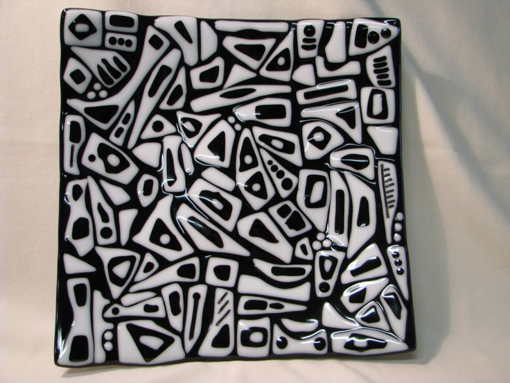 Fused glass plate in black and white stacks
