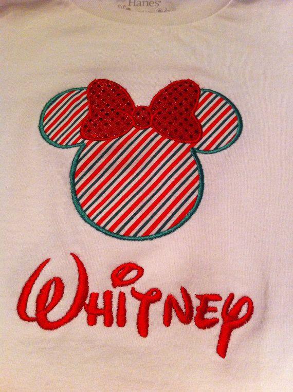 Disney Applique Christmas Shirt girls by JamieSewCute on Etsy, $19.98